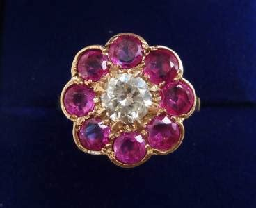 Ruby 9 2ct fabulous 9ct gold deco 2ct ruby and 0 88ct