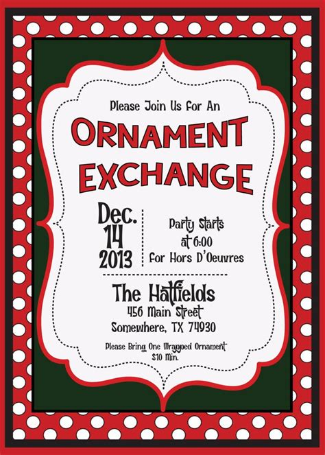 holiday christmas ornament exchange swap invitation