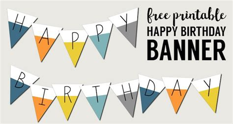 Free Printable Happy Birthday Banner Paper Trail Design Banner Sign Template