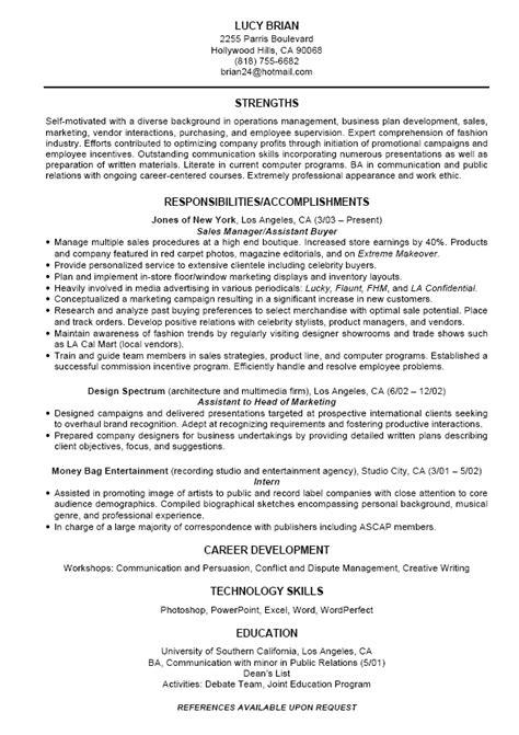 standard resume  excel templates