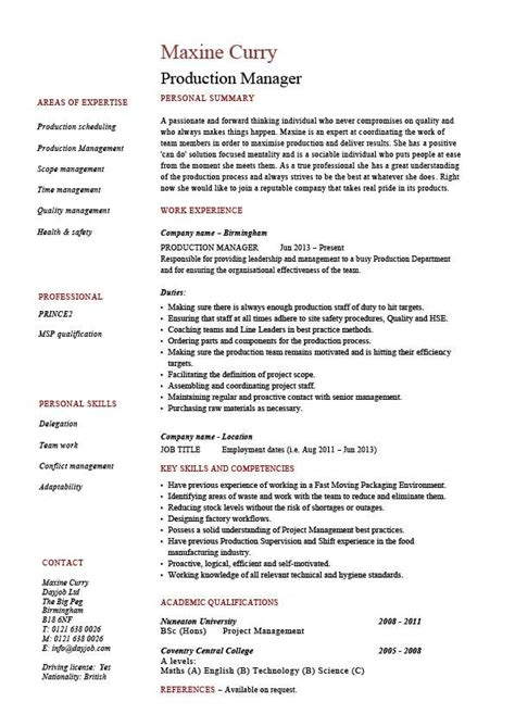 Production Description For Resume production manager resume sles exles template