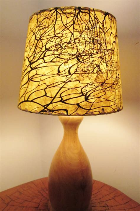 Handmade Lshades - tree root silkscreened paper l shade drum l shade