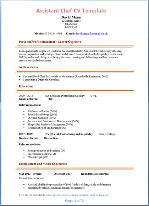 Exle Resume Assistant Cook Assistant Chef Cv Template Page 1