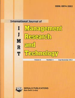 Mba In Purchase And Material Management by Buy International Journal Of Management Research And