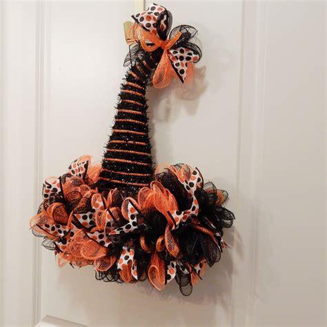 halloween wreath witch hat wreath orange  black