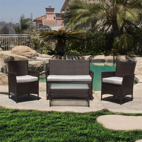 Weatherproof Wicker Patio Furniture 4 Pc Rattan Furniture Set Outdoor Patio Garden Sectional