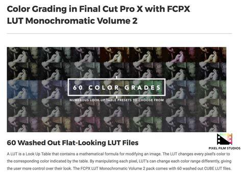 final cut pro lut fcpx lut monochromatic volume 2 was released by pixel film
