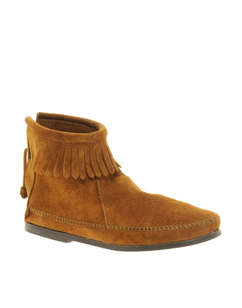 minnetonka boots for minnetonka back zipper brown ankle boots in brown lyst