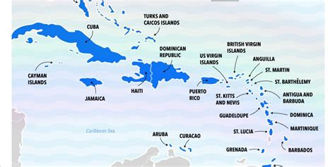 map of the caribbean islands best caribbean islands chart business insider