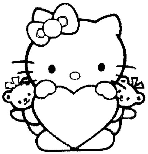 hello kitty large coloring pages valentine hello kitty with heart valentine s day