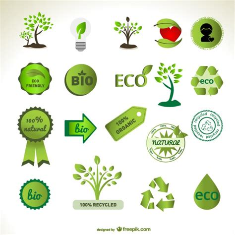 Green Eco Badges And Tree Designs Vector Free Download Green Eco Tree Vector Free