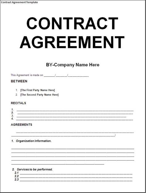 Simple Template Exle Of Contract Agreement Between Two Parties With Huge Title And Blank Simple Service Contract Template