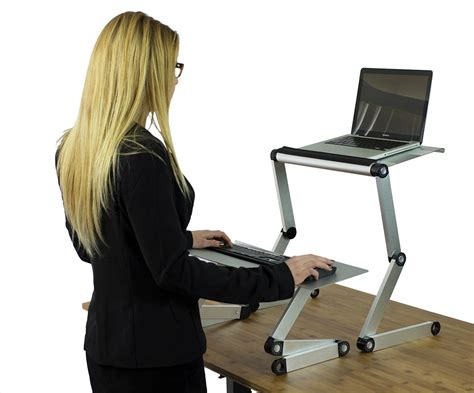 Laptop Stand For Standing Desk Workez Standing Desk Conversion Kit Affordable Adjustable Height Angle Laptop Sit