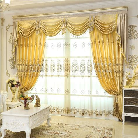 living room valance curtains aliexpress com buy set luxurious jacquard curtains for