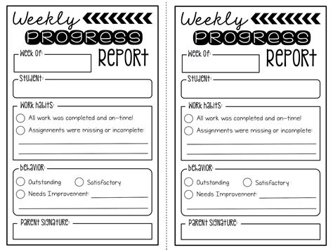 editable bi weekly student progress report template create teach weekly progress report freebie