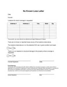 Insurance No Loss Letter No Known Loss Letter Template Letter Template 2017