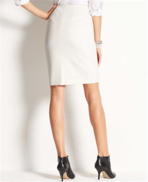 stretch twill pencil skirt in white winter