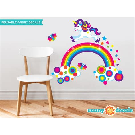 rainbow wall stickers decals unicorn and rainbow fabric wall decal with