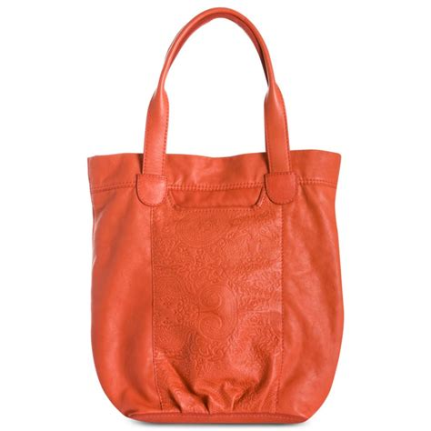 Lucky Brand Orange Paisley lyst lucky brand paisley embossed trippin out tote in orange