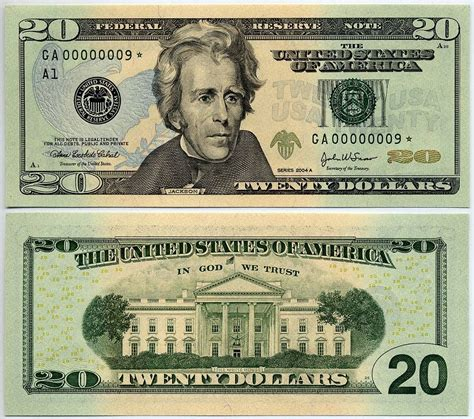 printable mini fake money us currency 2004a 20 federal reserve star note s n ga