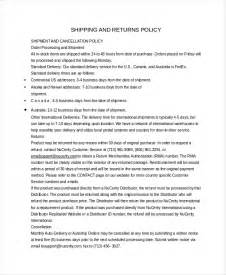 Return Policy Template by Return Policy Template 7 Free Word Pdf Document