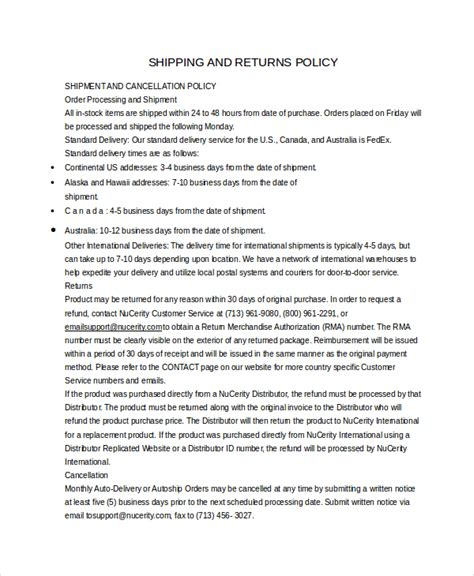 shipping policy template return policy template 7 free word pdf document