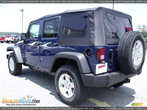 Blue Grey Jeep Wrangler 2010 Jeep Wrangler Unlimited Sport 4x4 Water Blue