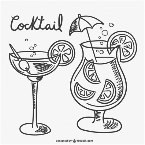 martini drawing cocktail drawings vector free download