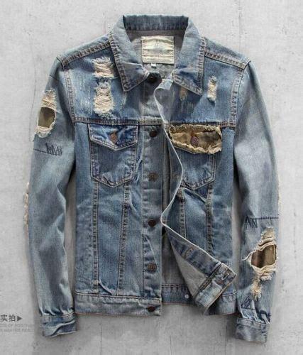 Ripped Washed Jaket new fashion ripped holey patch washed denim mens jacket biker coat ebay stuff i