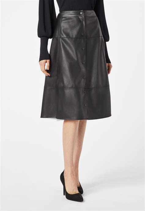 Buttoned Midi Skirt buttoned faux leather midi skirt clothing in black get