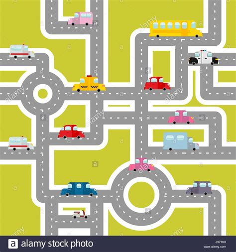 traffic pattern en espanol road and transport seamless pattern cartoon map of cars