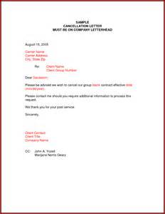 Cancellation Letter For Insurance Sample Of Cancellation Letter To Insurance Company