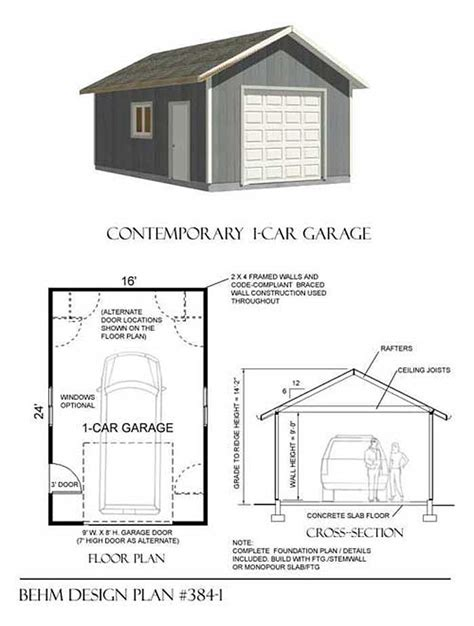 one car garage plans basic 1 car garage plans 384 1 16 x24 behm garage plans