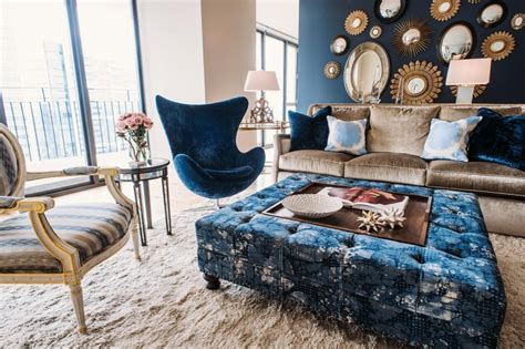 navy blue coffee table  tufted ottoman roy home design