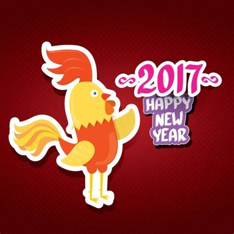 new year for rooster 2016 new year 2017 of rooster sticker vector 04 vector animal