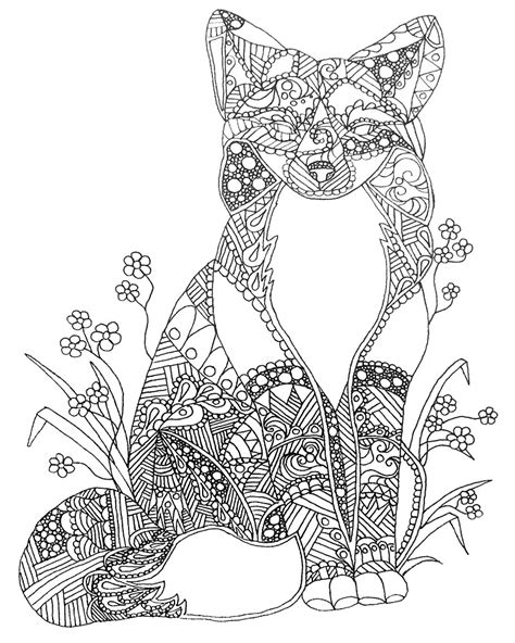 coloring pages for adults fox quot colorable fox abstract animal coloring quot by