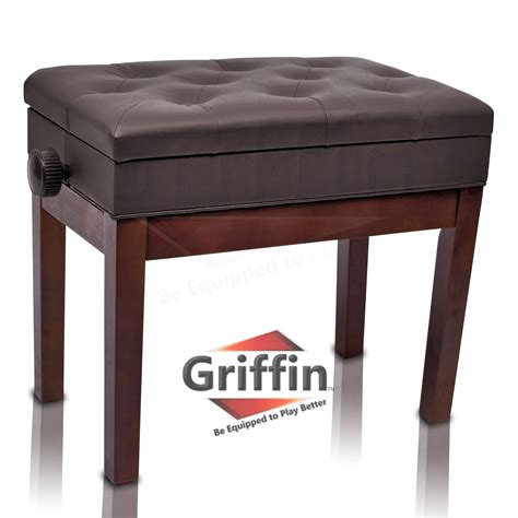 piano bench with storage brown leather piano bench griffin storage adjustable
