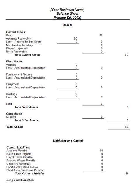Balance Sheet Template Free by Balance Sheet Template
