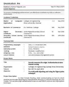 Best Resume Sle For Freshers Resume Format For Freshers