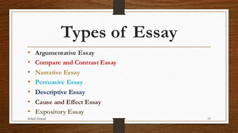 All Types Of Essay by Essay Writing By Sohail Ahmed