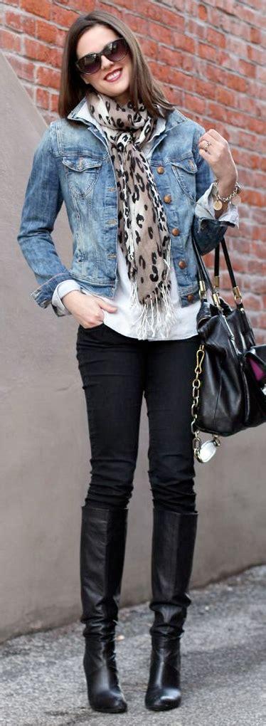Blouse 2 Pieces Black Leopard post white blouse black jean jacket