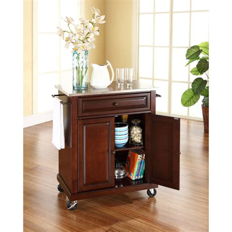 82 quot green kitchen island with solid wood top hou 57 l stainless steel top portable kitchen cart island in