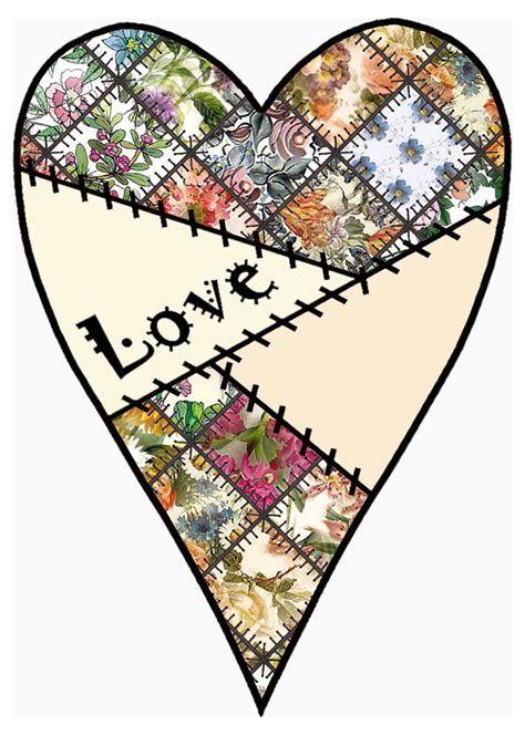 Patchwork Hearts - artbyjean paper crafts set a01 theme patchwork