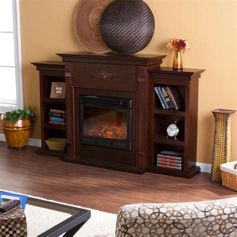 fireplace with bookcase southern enterprises tennyson electric fireplace with bookcase classic espresso