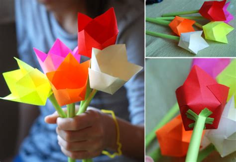 Make Paper Tulips - welcome baby paper tulip picture tutorial