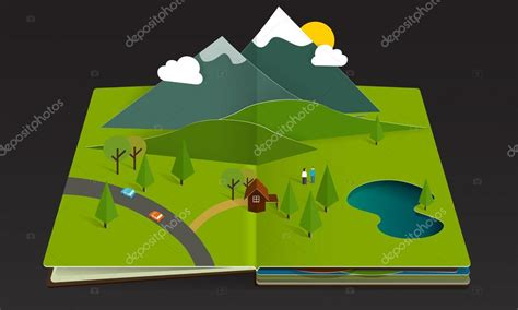 libro pop up design and paper forest and mountain pop up book spring green paper fun landscape cartoon stock vector