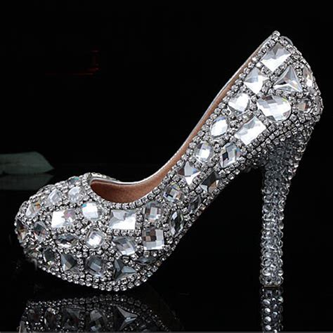 silver evening shoes both sides rhinestone wedding shoes silver bridal dress