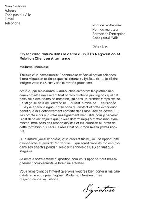 Lettre Motivation Ecole De Commerce En Alternance Lettre De Motivation Bts Nrc Alternance Mod 232 Le De Lettre