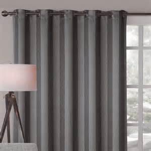 Contemporary Window Curtains Alberta Wide Blockout Eyelet Curtain Panel Charcoal