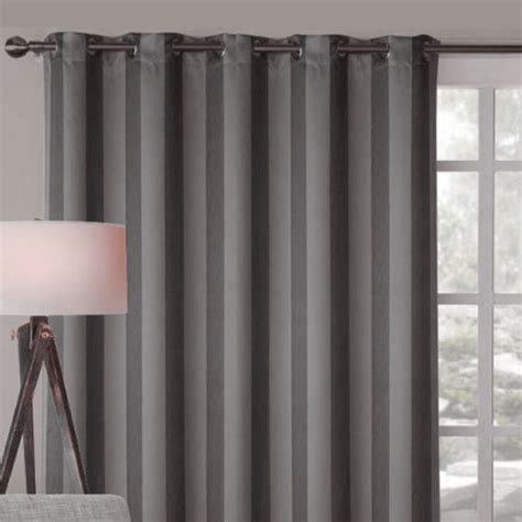 Contemporary Window Curtains Alberta Wide Blockout Eyelet Curtain Panel Charcoal Grey Contemporary Curtains